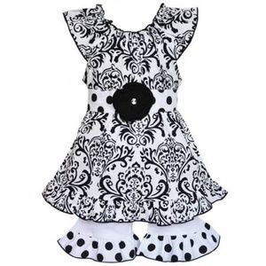 2-Piece Black & White Damask Girls Outfit